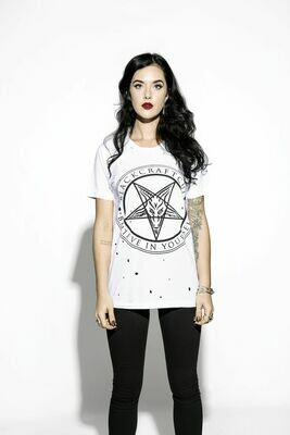 Believe In Yourself White Unisex Distressed Tee