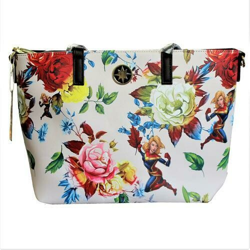 Loungefly X Marvel Captain Marvel Floral Tote Bag