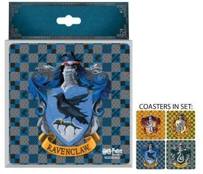 Harry Potter House Crests Glass Coaster Set