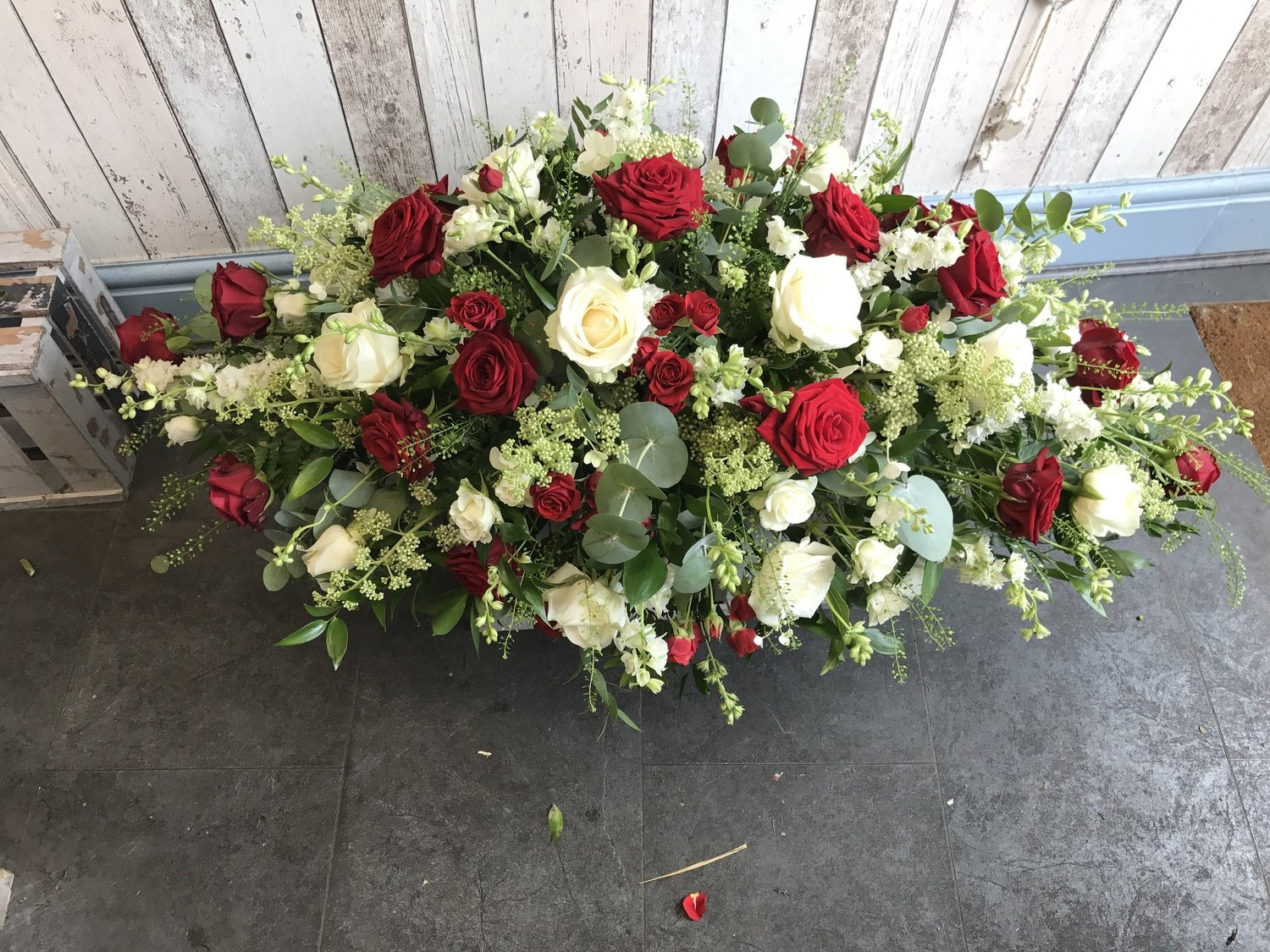 Red and Cream - Floral Coffin Spray (4ft)