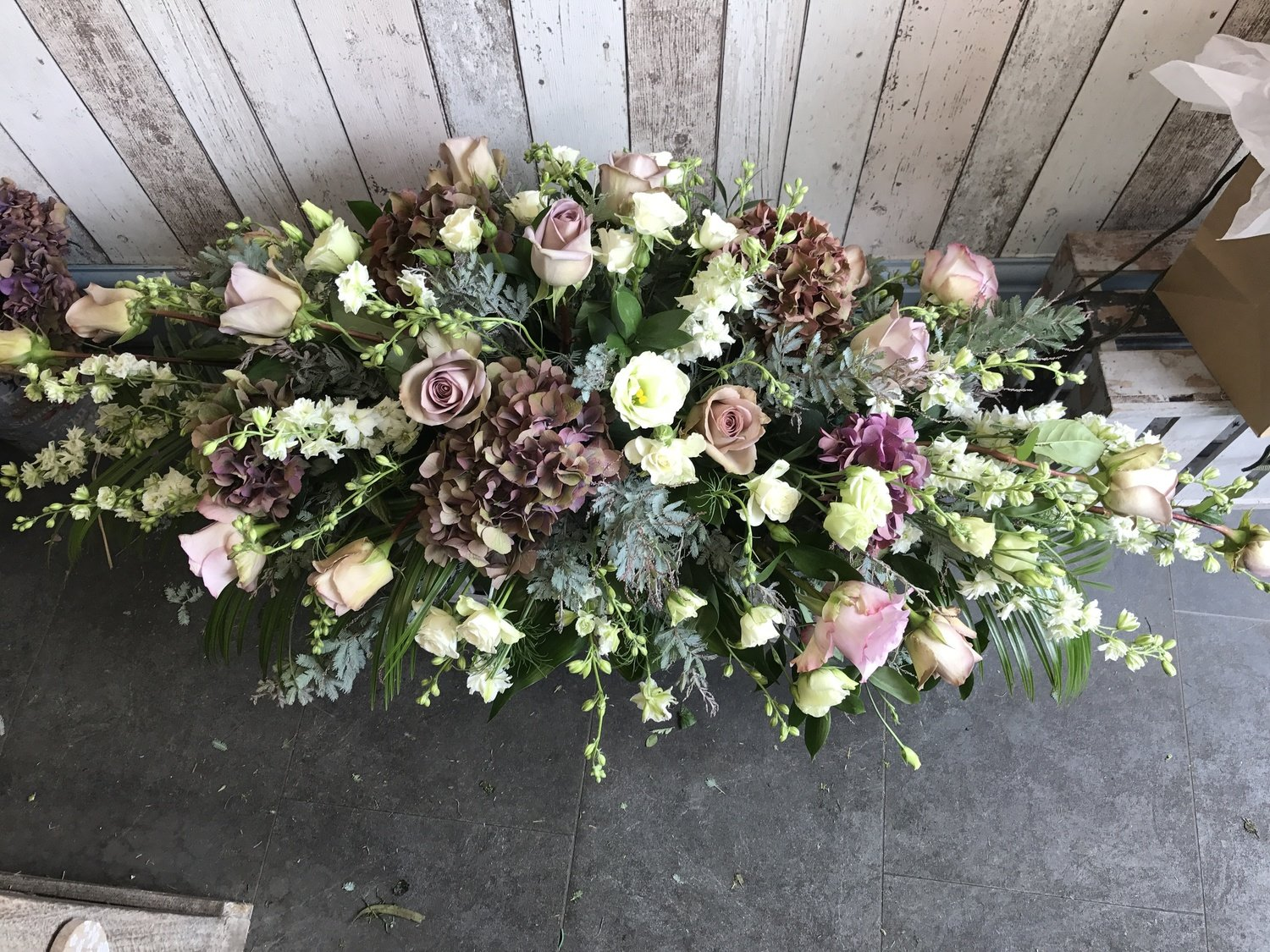 Pinks and Cream - Mixed Floral Coffin Spray (4ft)