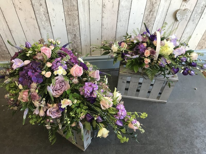 Pinks and Purples - Mixed Floral Coffin Spray