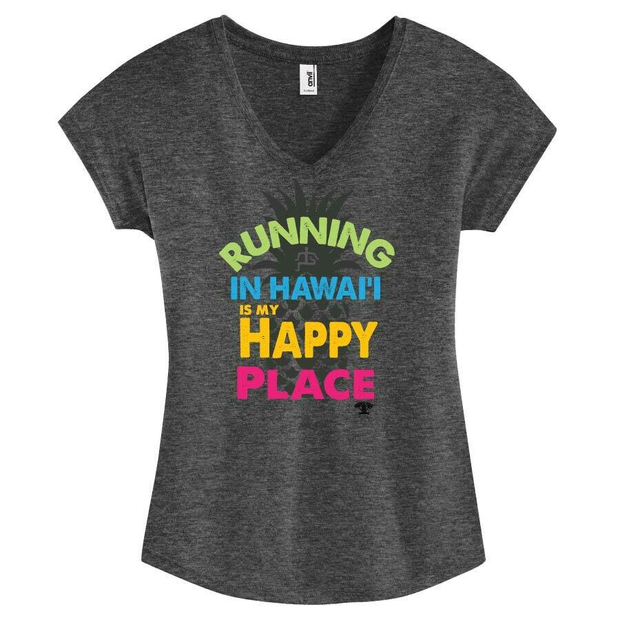 Run Paradise - Happy Place Womens V-Neck (6750VL)