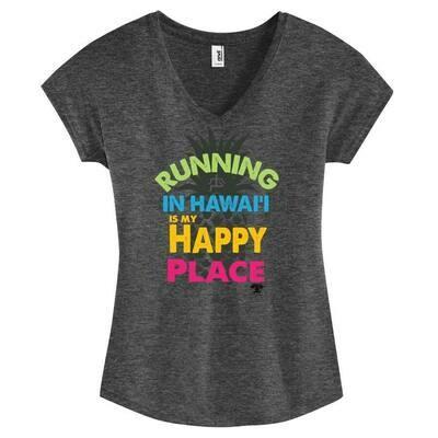 Run Paradise - Happy Place Womens V-Neck (6750VL)