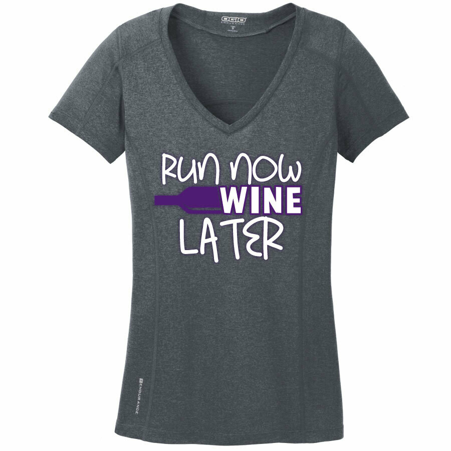 Run Paradise - Run Now Wine Later Womens V-Neck (LOE320)
