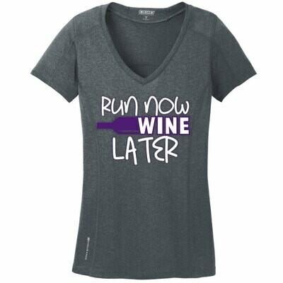 Run Paradise - Run Now Wine Later Womens V-Neck (LOE320)
