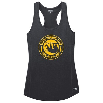 Run Paradise - Womens Sloth Running Club (Beer) Tank Top (LOE322)