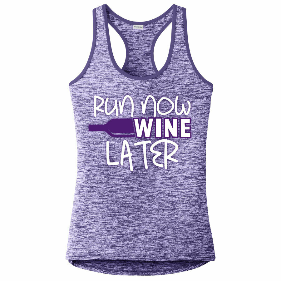 Run Paradise - Run Now Wine Later Womens Tank Top (LST396)