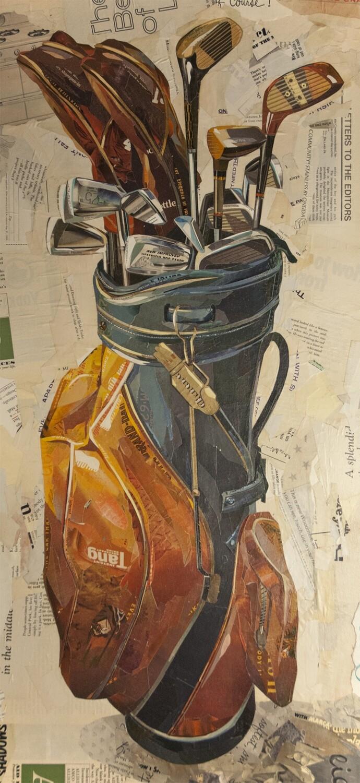 """Golf Clubs in Stiff Orange/Blue Leather""  print     2015"