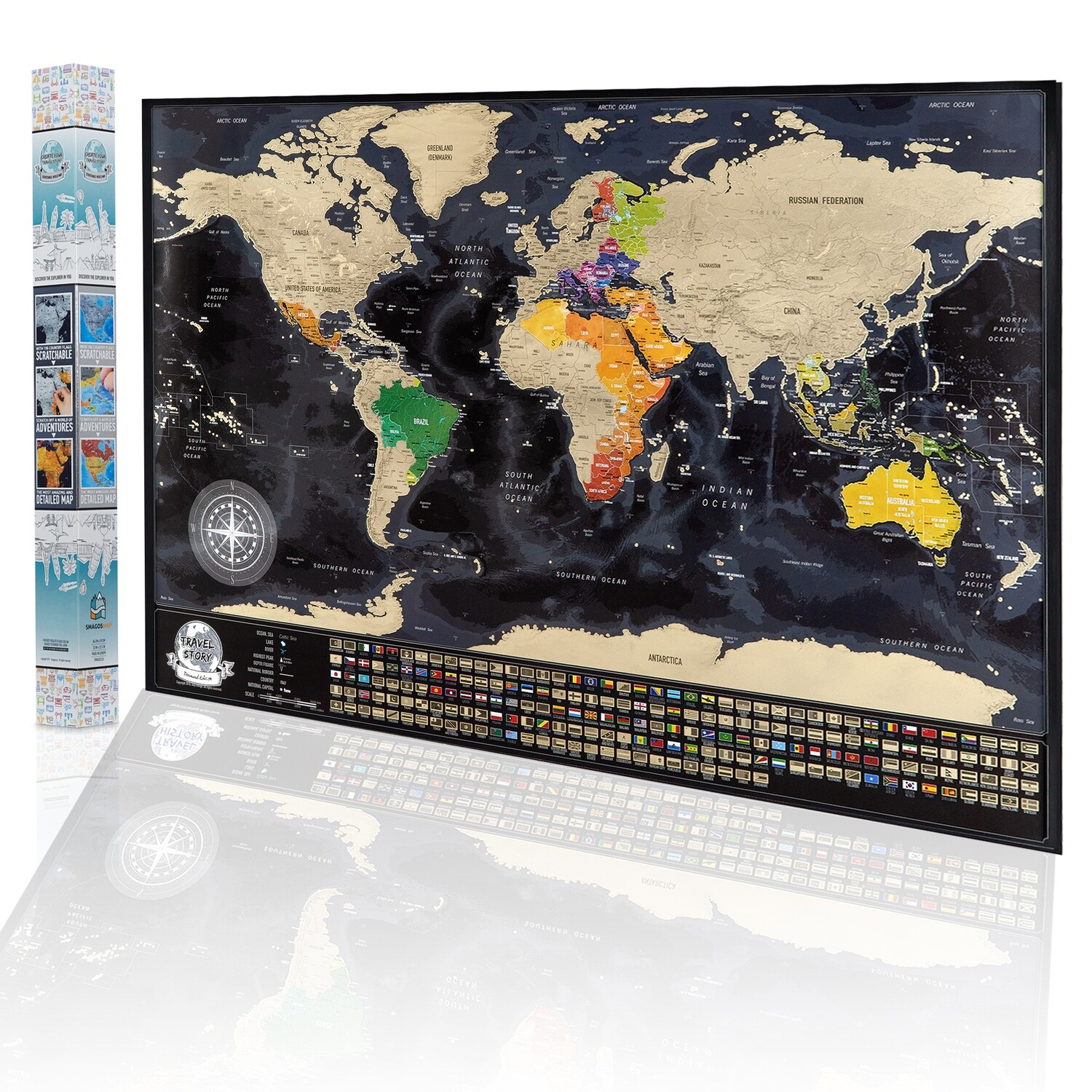 Best Birthday Gift for Friends - Personalized Weddings Gift - NEW Scratch off World Map - Adventure Map with Flags - XXL Scratch Travel Map. Available Map with Frame