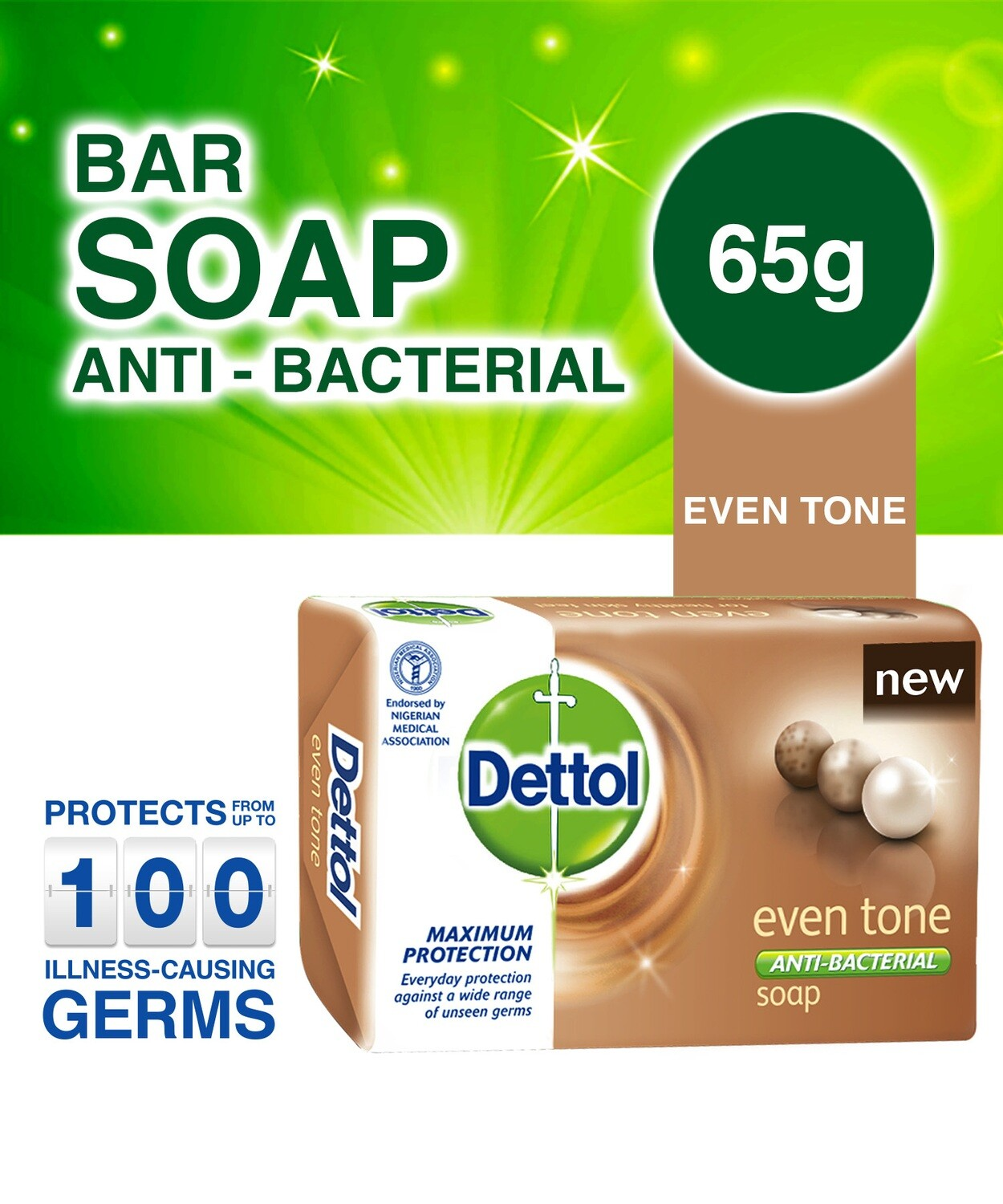 DETTOL ANTI-BACTERIAL EVEN TONE SOAP 65G
