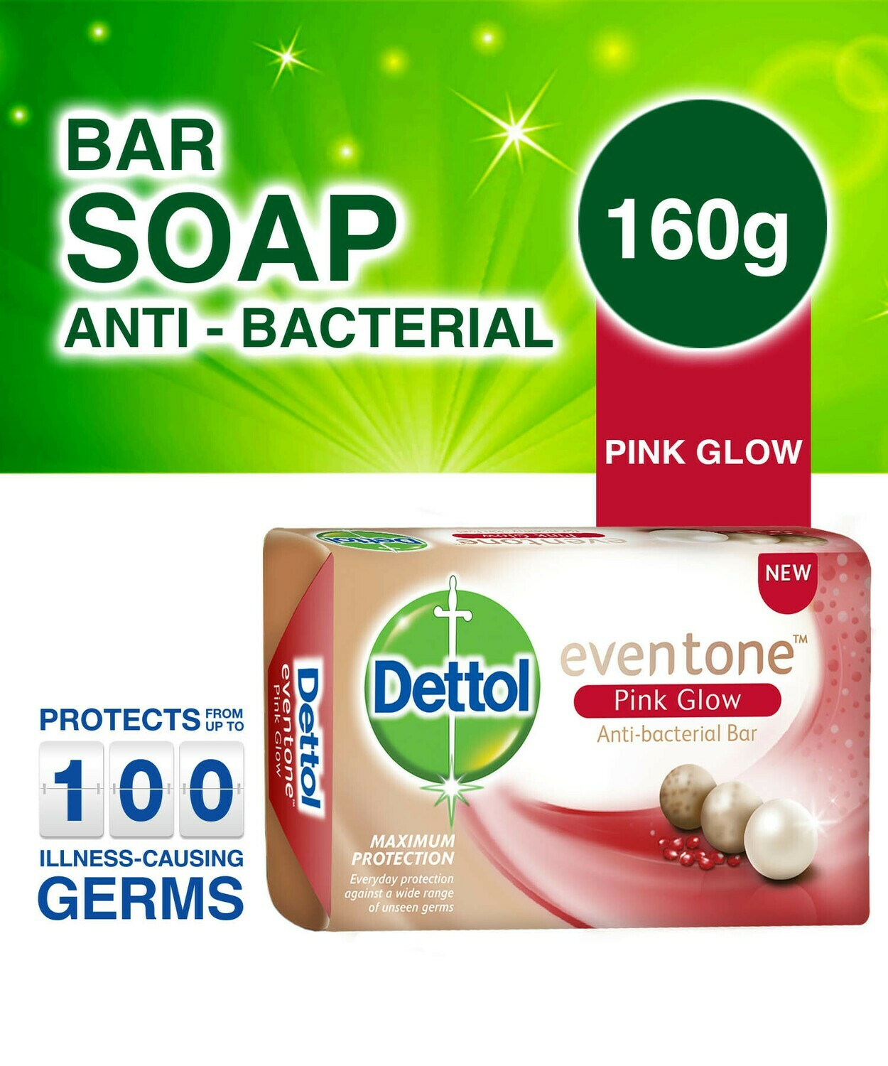 DETTOL EVENTONE PINK GLOW ANTI BACTERIAL SOAP 160G