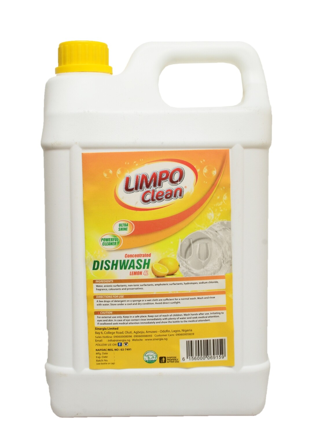 LIMPO CLEAN CONCENTRATED DISHWASH LEMON 4L
