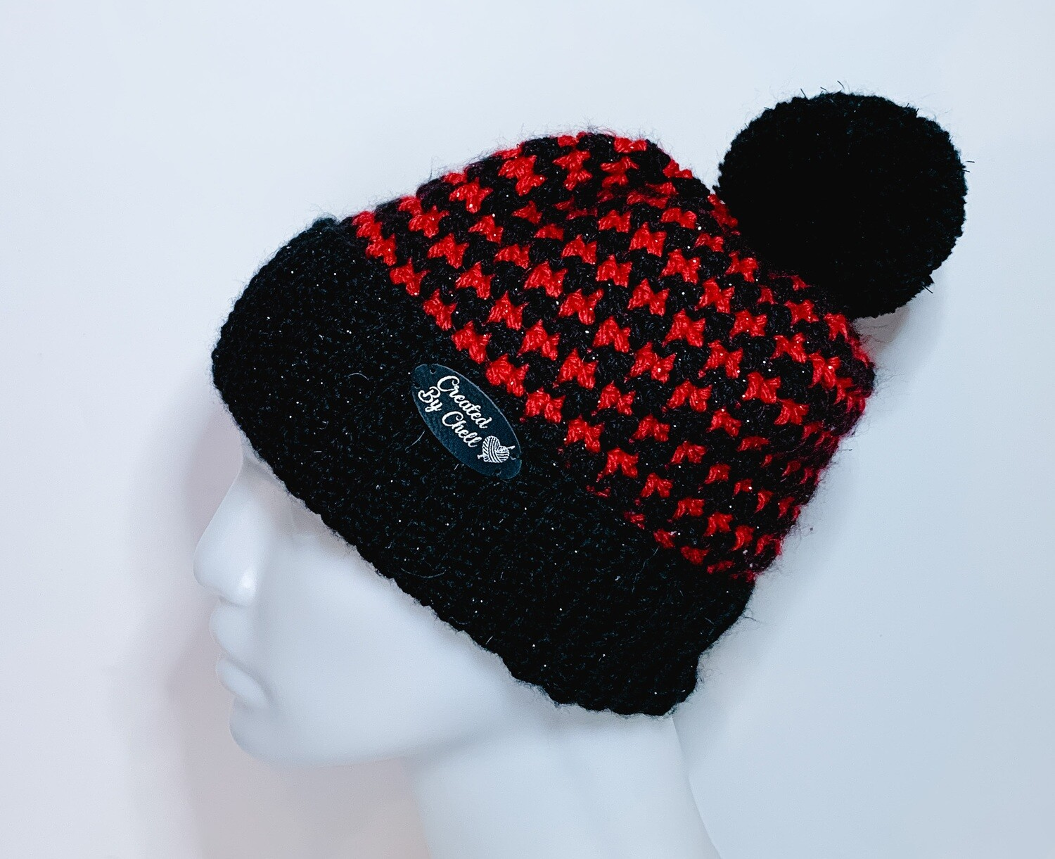 Girls Crocheted Houndstooth Slouchy Hat Red and Black Pom Pom Hat