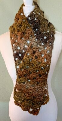 Chunky Brown Crocheted Fan Scarf, Women's Lacy Shades of Brown Scarf