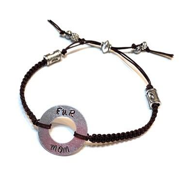 Hand Stamped Fur Mom Washer Braided Beaded Bracelet
