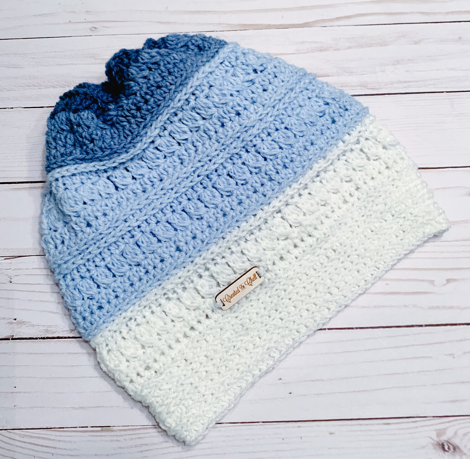 Rocky Road Crocheted Slouchy Hat, Handmade Shades of Blue Slouch Hat