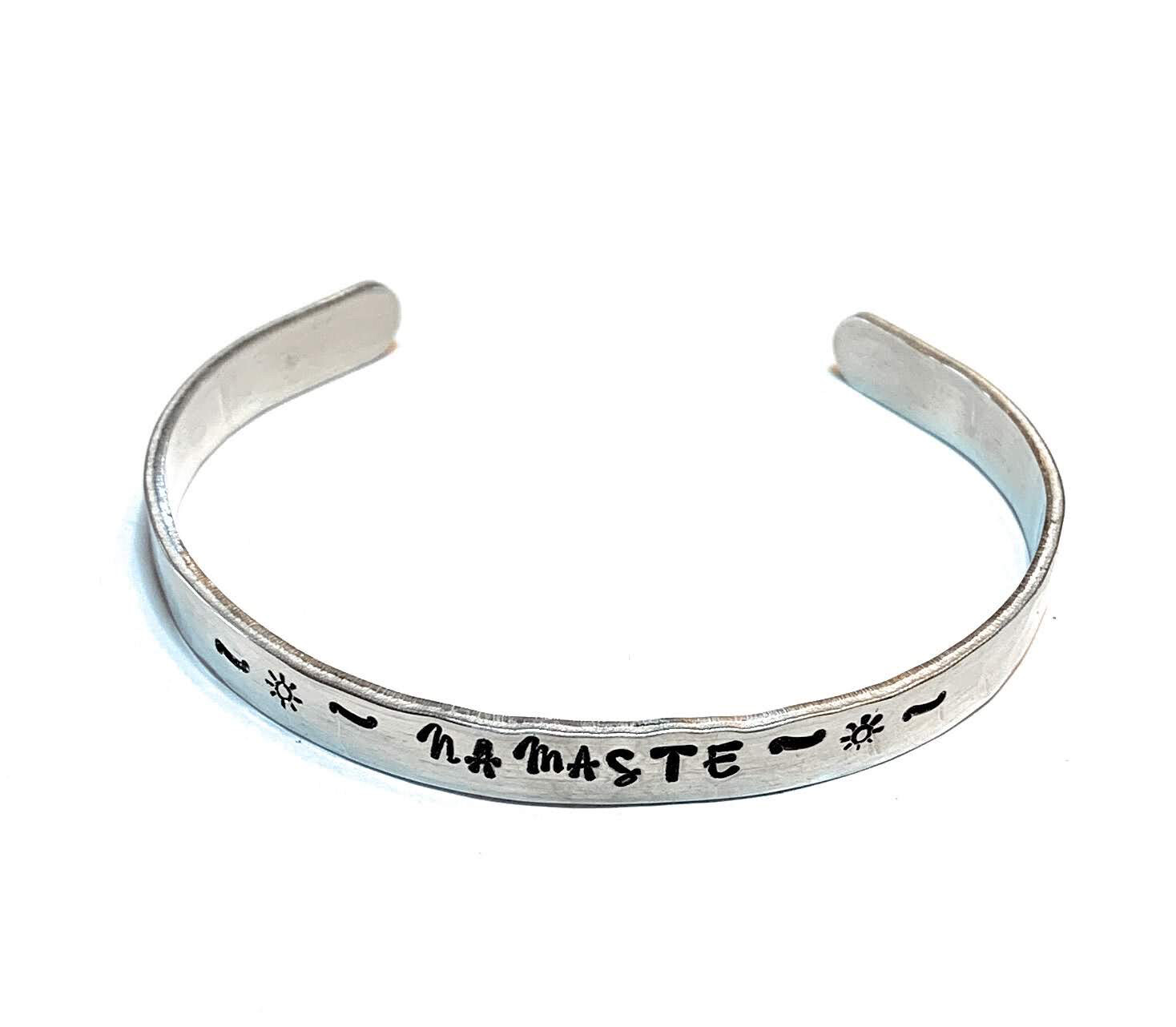 Hand Stamped Bangle Namaste Bracelet Handmade Hammered