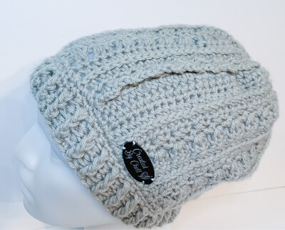 Gray Hand Crocheted Slouchy Hat, Primrose and Proper Slouch Hat