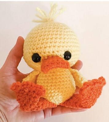 Crocheted Stuffed Duckling, Amigurumi Ducky, Handmade Stuffed Duck MADE TO ORDER