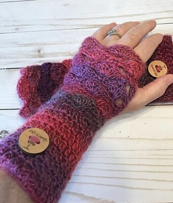 Crocheted Fantail Texting Gloves, Handmade Shell Arm Warmers **Made To Order**