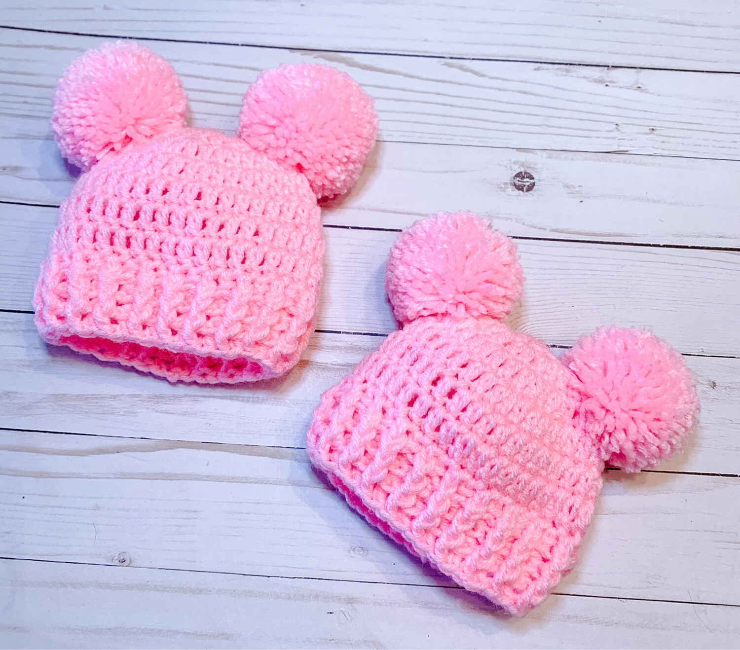 Double Pom Pom Crocheted Hat Custom Made To Order