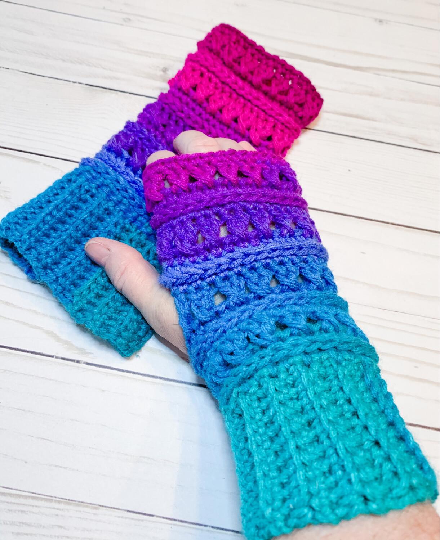 Crocheted Criss Cross Fingerless Gloves-Made To Order