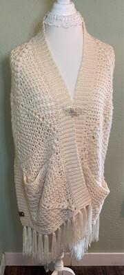 Pocket Shawl, Hand Crocheted Pine Gap Pocket Shawl