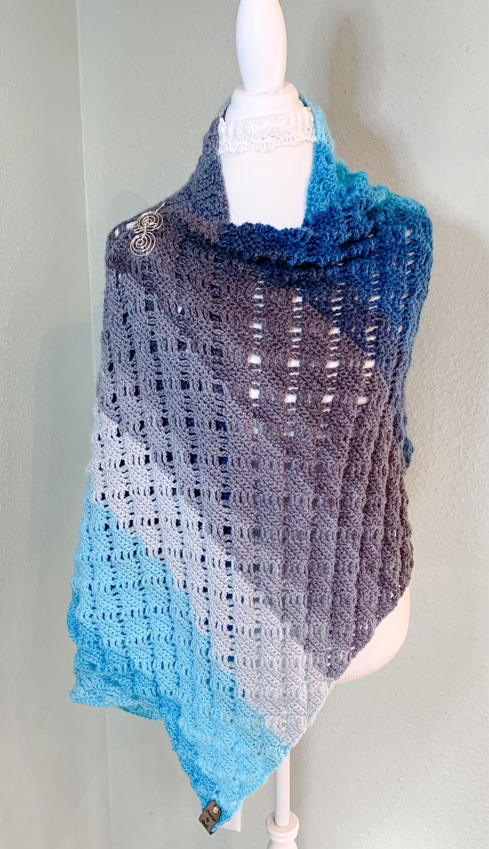 Handmade Crocheted Rectangular Blue Gray Wrap, Wrap Me In Diamonds Shawl