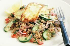 Puy lentils and hallumi