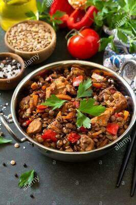 Green Lentil and Hallumi Stir- fry