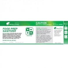 ***** GRFPS-HL ***** Green Rhino Food Prep Sanitiser Half Label, Vinyl, Waterproof, Gloss Finish, For 500ml or 1L Bottles