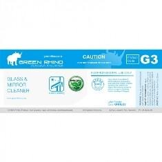 ** GRGMC-ENVIRO-HL ** Green Rhino ENVIRO Glass and Mirror Label, Vinyl, Waterproof, Gloss Finish, For 500ml or 1L Bottles
