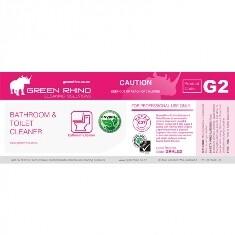 *** GRBTC-ENVIRO-HL *** Green Rhino ENVIRO Bathroom and Toilet Label, Vinyl, Waterproof, Gloss Finish, For 500ml or 1L Bottles