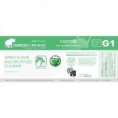 ** GRSW-ENVIRO-HL ** Green Rhino ENVIRO Spray n Wipe Label, Vinyl, Waterproof, Gloss Finish, For 500ml or 1L Bottles