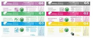VARIOUS Green Rhino ENVIRO Half Label Stickers for 500ml Spray Bottles