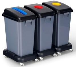 ** PCBIN60L-3PK ** PureCLEAN Recycling and Rubbish Bins - 3 Pack