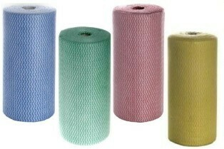 **** CAW **** Antibacterial Cloth Wipes - Roll of 100 Sheets, 4 Colours