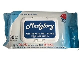 **** MAWW60-24 **** Medglory Alcohol Free Antiseptic Wet Wipes - Pack of 60, Carton of 24 Packs - 1,440 Wipes