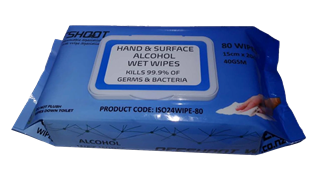 ** ISO24WIPE-80-24 ** Offshoot 24% ETHANOL Antiseptic Wet Wipes - Pack of 80, Carton of 24 Packs - 1,920 Wipes