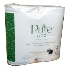 *** ET400BALE *** PureECO 2PLY RECYCLED Toilet Rolls, 400 sheets x 48 rolls – WRAPPED 4PK BALE