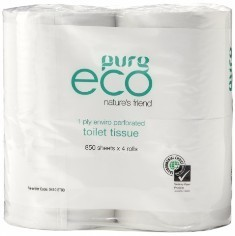 ****** ET850 ****** PureECO 1PLY RECYCLED Toilet Rolls, 850 sheets x 48 rolls – WRAPPED 4PK BALE