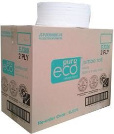 ****** EJ300 ****** PureECO 2PLY RECYCLED Jumbo Toilet Rolls, 300 metres x 8 rolls