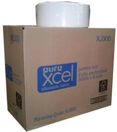 ***** XJ300 ***** PureXCEL 2PLY VIRGIN Jumbo Toilet Rolls, 300 metres x 8 rolls