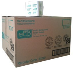 ****** EI240 ****** PureECO 2PLY RECYCLED Interleaved Toilet Tissue, 240 sheets x 36 packs – INDIVIDUALLY WRAPPED