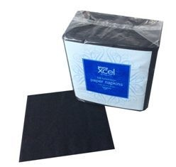 *** XLN125BK *** PureXCEL 2PLY BLACK Luncheon Napkins, 125 sheets x 16 packs