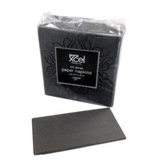 *** XDN125BKP *** PureXCEL 2PLY BLACK Redifold Dinner Napkins, 125 sheets x 8 packs