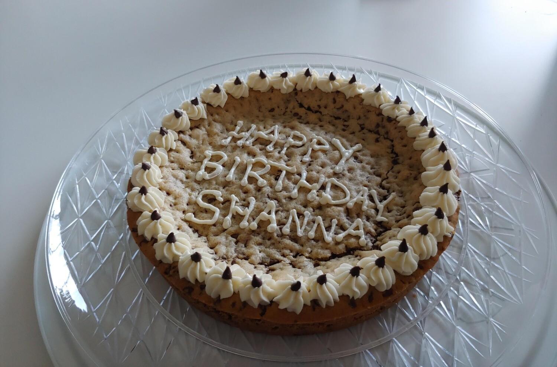 Chocolate Chip Cookie Cake (vanilla icing)