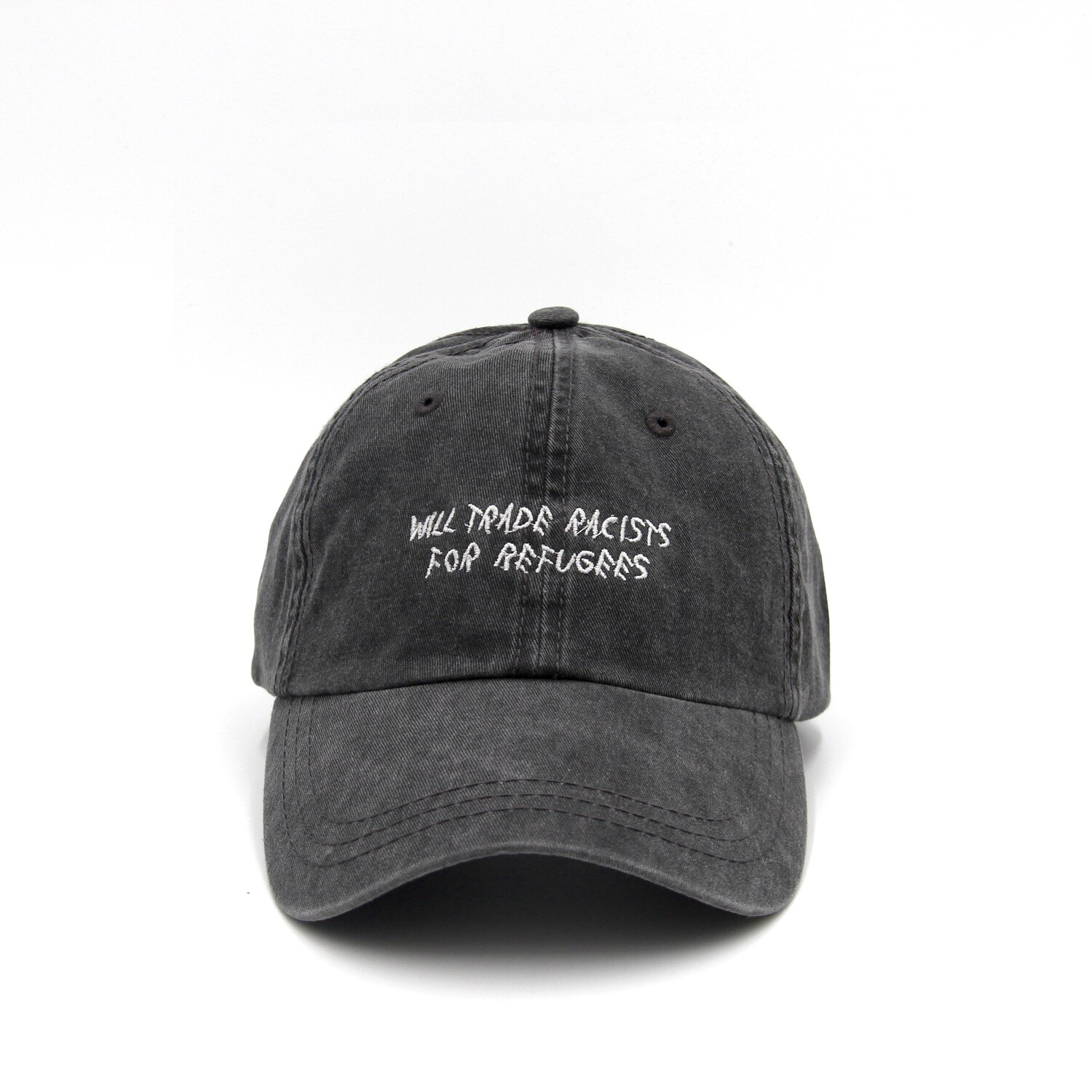 Trade Racists For Refugees Gray Dad Cap