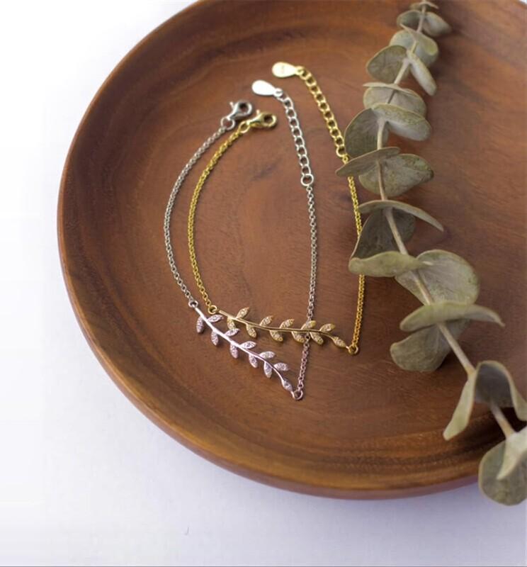 Olive Branch 925 Sterling Silver Bracelet